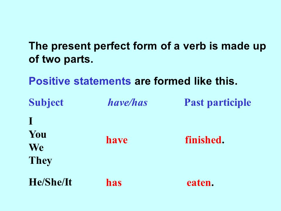 The present perfect form of a verb is made up of two parts.