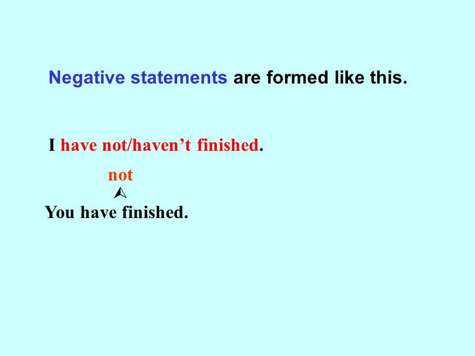 Negative statements are formed like this. I have not/haven't finished. You have finished. not 