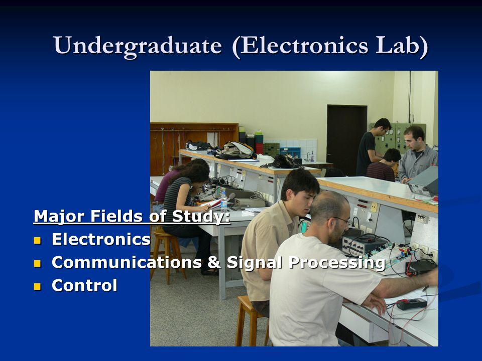 Undergraduate (Electronics Lab) Major Fields of Study: Electronics Electronics Communications & Signal Processing Communications & Signal Processing C