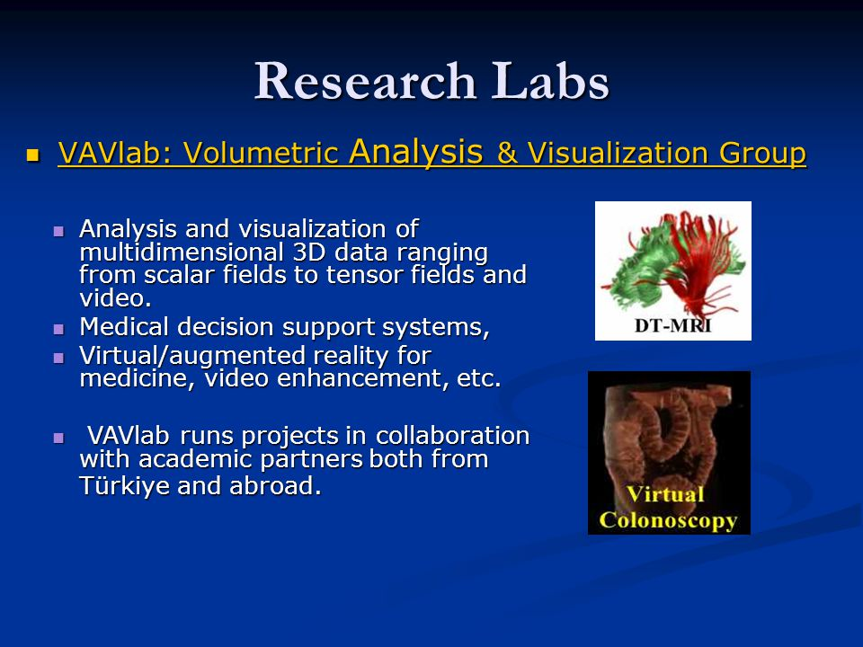 Research Labs VAVlab: Volumetric Analysis & Visualization Group VAVlab: Volumetric Analysis & Visualization Group VAVlab: Volumetric Analysis & Visualization Group VAVlab: Volumetric Analysis & Visualization Group Analysis and visualization of multidimensional 3D data ranging from scalar fields to tensor fields and video.