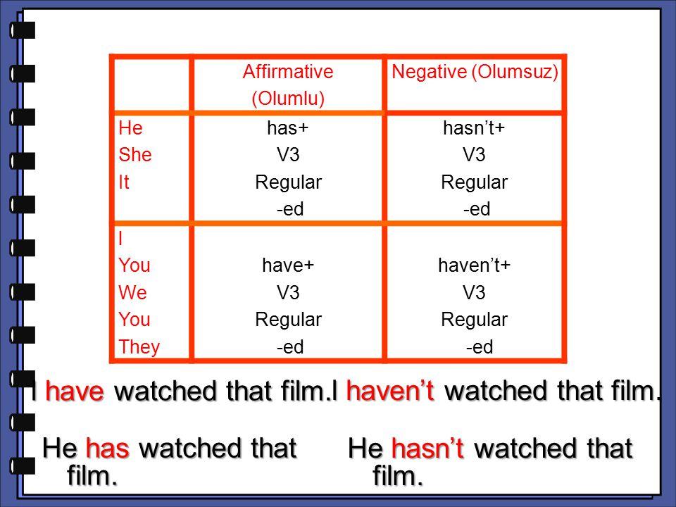 Affirmative (Olumlu) Negative (Olumsuz) He She It has+ V3 Regular -ed hasn't+ V3 Regular -ed l You We You They have+ V3 Regular -ed haven't+ V3 Regular -ed l have watched that film.
