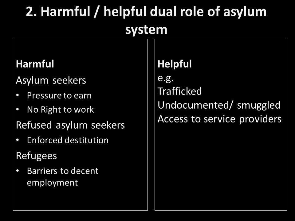 2. Harmful / helpful dual role of asylum system Harmful Asylum seekers Pressure to earn No Right to work Refused asylum seekers Enforced destitution R