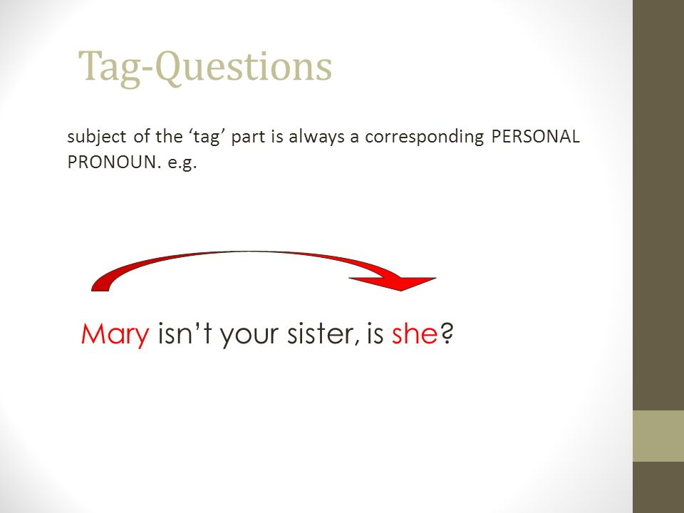 Tag-Questions subject of the 'tag' part is always a corresponding PERSONAL PRONOUN.