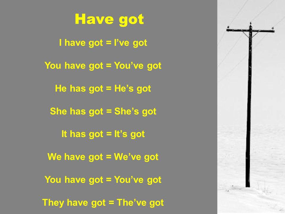 I have got = I've got You have got = You've got He has got = He's got She has got = She's got It has got = It's got We have got = We've got You have g