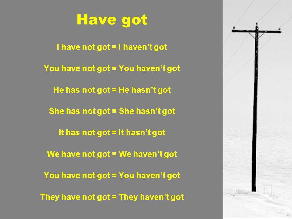 Have got Have I got….= Yes, I have. / No, I haven't.