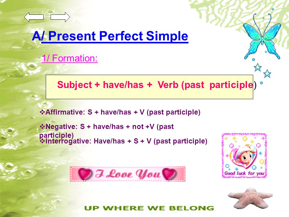 A/ Present Perfect Simple 1/ Formation: Subject + have/has + Verb (past participle)  Affirmative: S + have/has + V (past participle)  Negative: S +