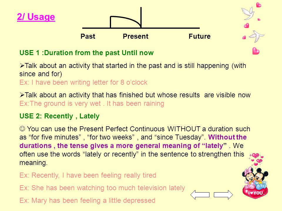 2/ Usage PastPresentFuture USE 1 :Duration from the past Until now  Talk about an activity that started in the past and is still happening (with sinc
