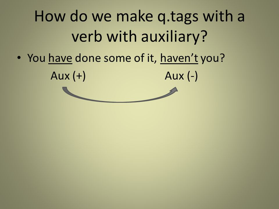How do we make q.tags with a verb with auxiliary? You have done some of it, haven't you? Aux (+) Aux (-)