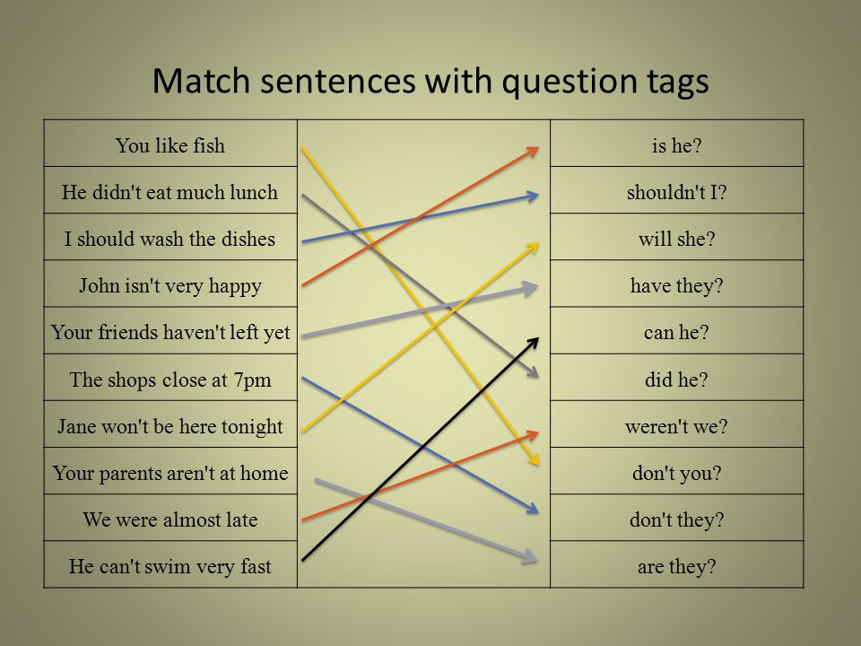 Match sentences with question tags You like fish is he? He didn't eat much lunchshouldn't I? I should wash the disheswill she? John isn't very happyha