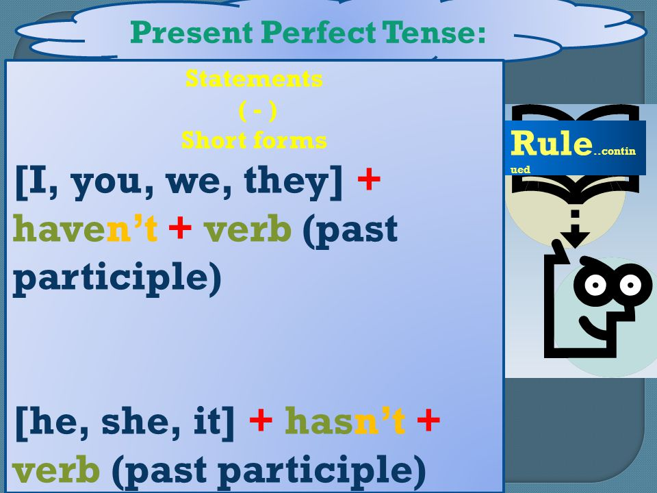 Present Perfect Tense: Rule..contin ued Statements ( - ) Short forms [I, you, we, they] + haven't + verb (past participle) [he, she, it] + hasn't + verb (past participle)