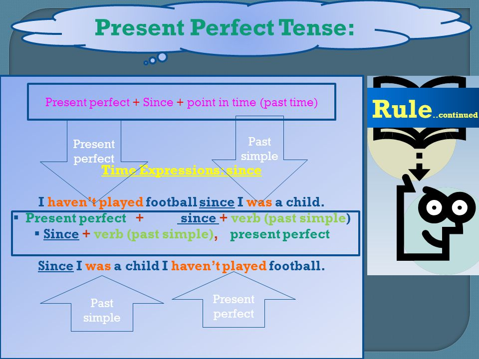 Present Perfect Tense: Rule..continued Time Expressions: since I haven't played football since I was a child.