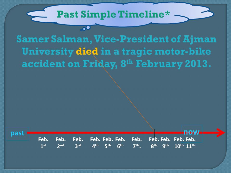 past Past Simple Timeline* Samer Salman, Vice-President of Ajman University died in a tragic motor-bike accident on Friday, 8 th February 2013.