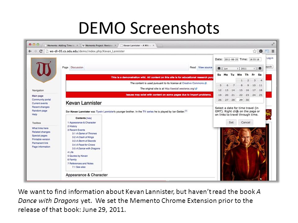 DEMO Screenshots We want to find information about Kevan Lannister, but haven't read the book A Dance with Dragons yet.