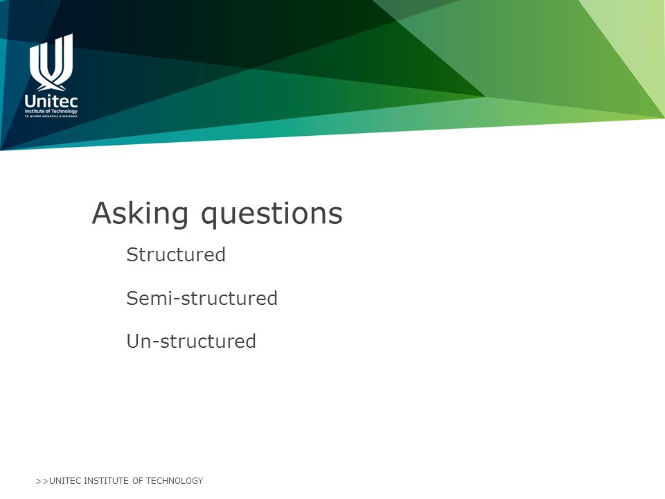 >>UNITEC INSTITUTE OF TECHNOLOGY Asking questions Structured Semi-structured Un-structured