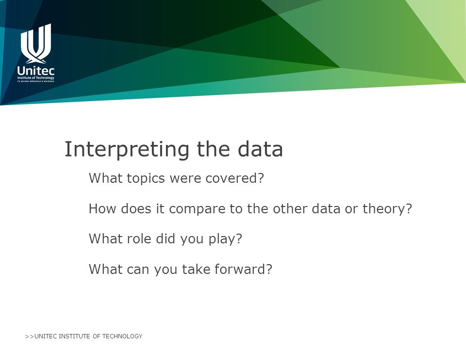 >>UNITEC INSTITUTE OF TECHNOLOGY Interpreting the data What topics were covered.