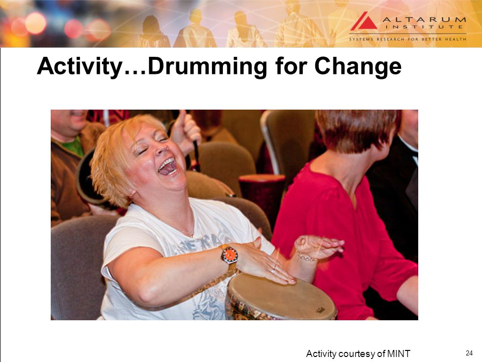 24 Activity…Drumming for Change Activity courtesy of MINT