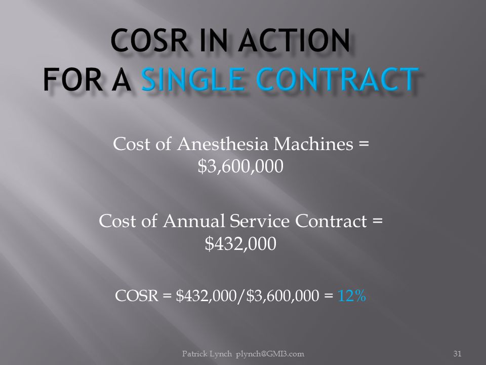 Patrick Lynch plynch@GMI3.com31 Cost of Anesthesia Machines = $3,600,000 Cost of Annual Service Contract = $432,000 COSR = $432,000/$3,600,000 = 12%