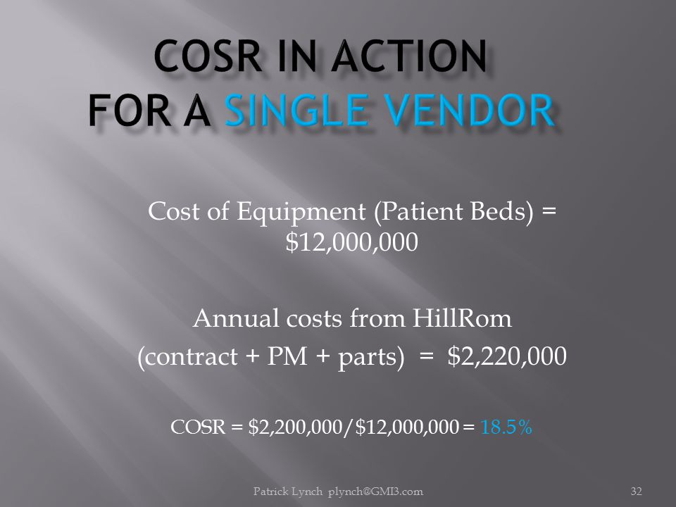 Patrick Lynch plynch@GMI3.com32 Cost of Equipment (Patient Beds) = $12,000,000 Annual costs from HillRom (contract + PM + parts) = $2,220,000 COSR = $2,200,000/$12,000,000 = 18.5%