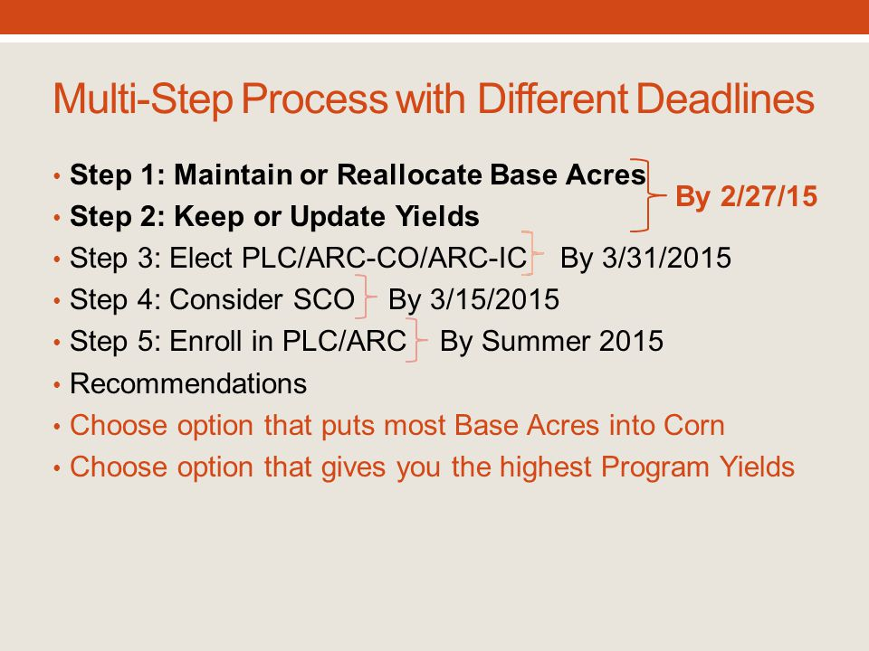 Multi-Step Process with Different Deadlines Step 1: Maintain or Reallocate Base Acres Step 2: Keep or Update Yields Step 3: Elect PLC/ARC-CO/ARC-IC By