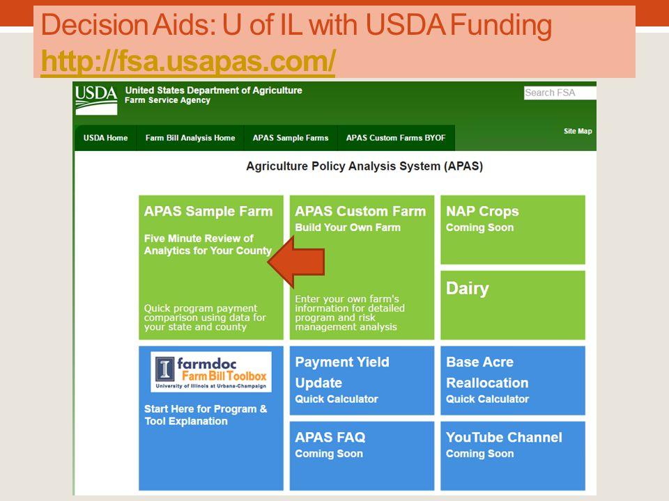 Decision Aids: U of IL with USDA Funding http://fsa.usapas.com/ http://fsa.usapas.com/