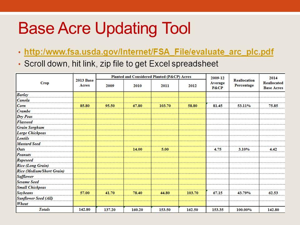 Base Acre Updating Tool http:/www.fsa.usda.gov/Internet/FSA_File/evaluate_arc_plc.pdf Scroll down, hit link, zip file to get Excel spreadsheet