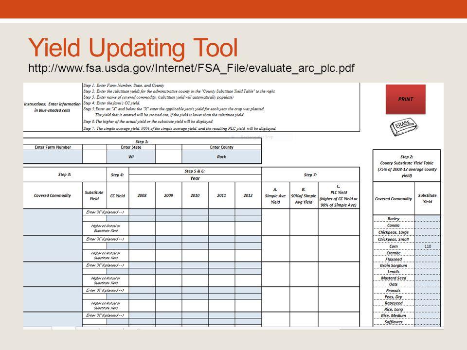 Yield Updating Tool http://www.fsa.usda.gov/Internet/FSA_File/evaluate_arc_plc.pdf