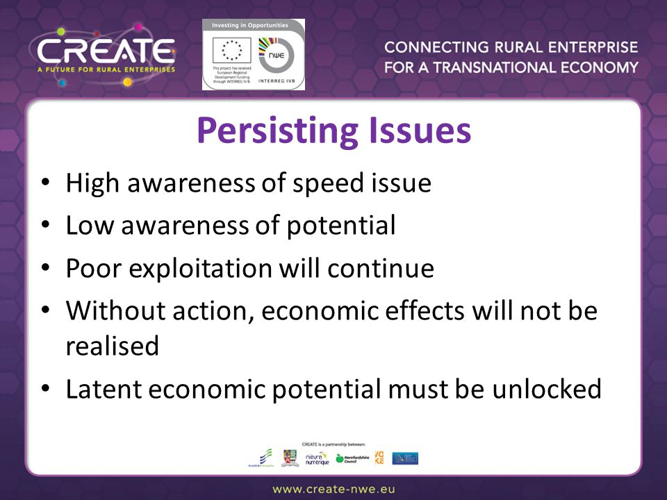 Persisting Issues High awareness of speed issue Low awareness of potential Poor exploitation will continue Without action, economic effects will not b