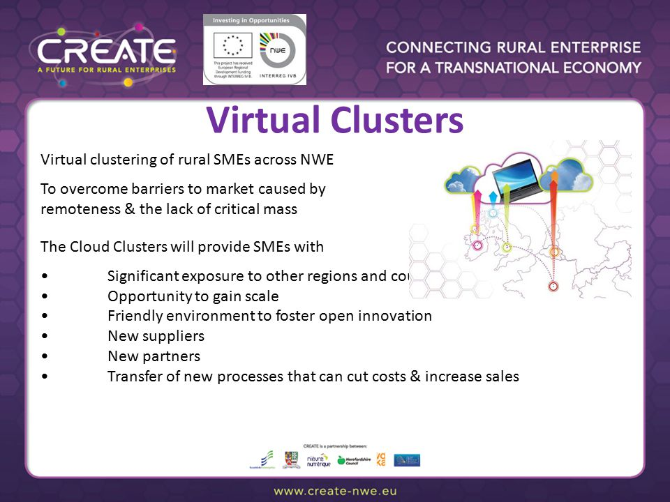 Virtual Clusters Virtual clustering of rural SMEs across NWE To overcome barriers to market caused by remoteness & the lack of critical mass The Cloud Clusters will provide SMEs with Significant exposure to other regions and countries Opportunity to gain scale Friendly environment to foster open innovation New suppliers New partners Transfer of new processes that can cut costs & increase sales