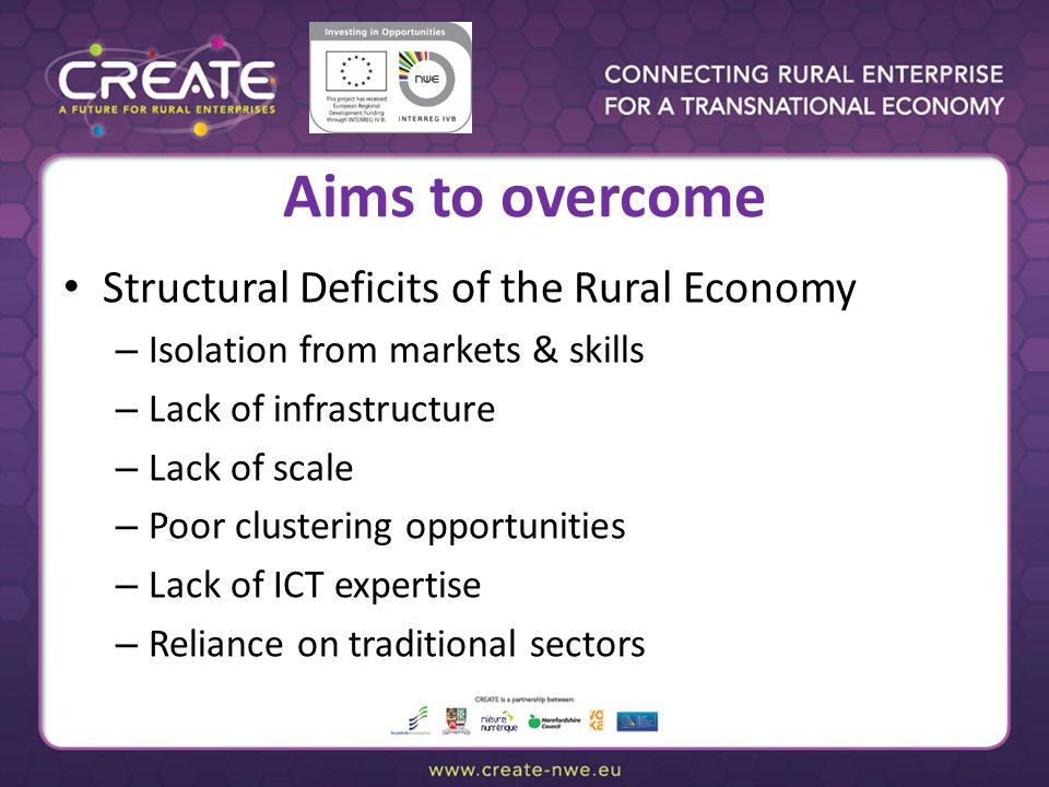 Aims to overcome Structural Deficits of the Rural Economy – Isolation from markets & skills – Lack of infrastructure – Lack of scale – Poor clustering
