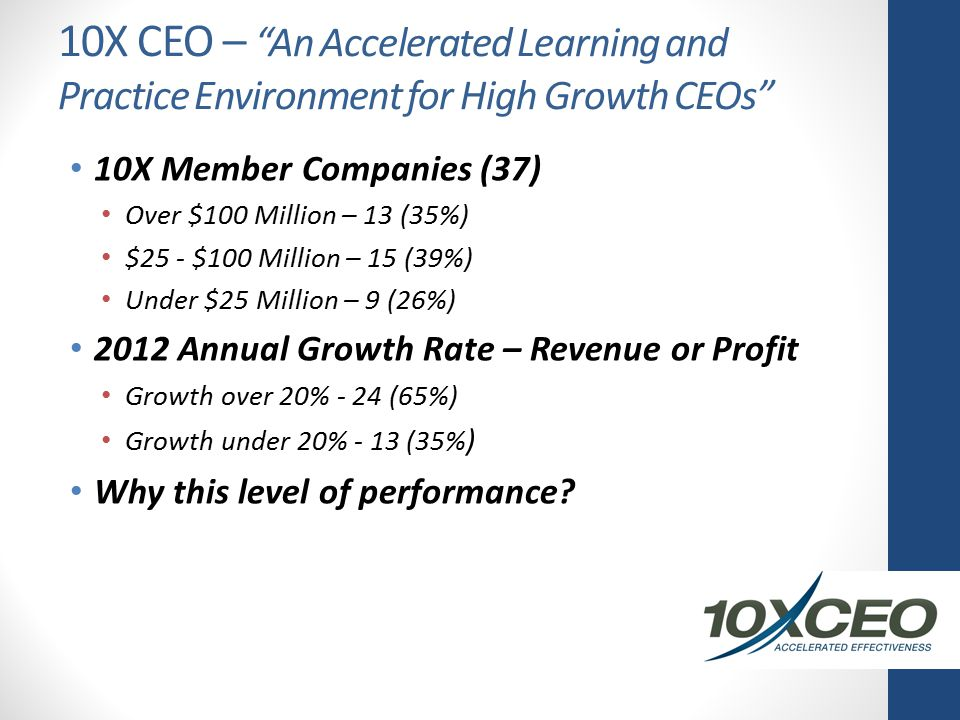 10X CEO – An Accelerated Learning and Practice Environment for High Growth CEOs 10X Member Companies (37) Over $100 Million – 13 (35%) $25 - $100 Million – 15 (39%) Under $25 Million – 9 (26%) 2012 Annual Growth Rate – Revenue or Profit Growth over 20% - 24 (65%) Growth under 20% - 13 (35% ) Why this level of performance