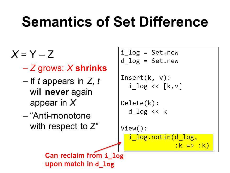 Semantics of Set Difference X = Y – Z –Z grows: X shrinks –If t appears in Z, t will never again appear in X – Anti-monotone with respect to Z i_log = Set.new d_log = Set.new Insert(k, v): i_log << [k,v] Delete(k): d_log << k View(): i_log.notin(d_log, :k => :k) Can reclaim from i_log upon match in d_log