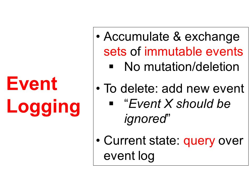 Event Logging Accumulate & exchange sets of immutable events  No mutation/deletion To delete: add new event  Event X should be ignored Current state: query over event log