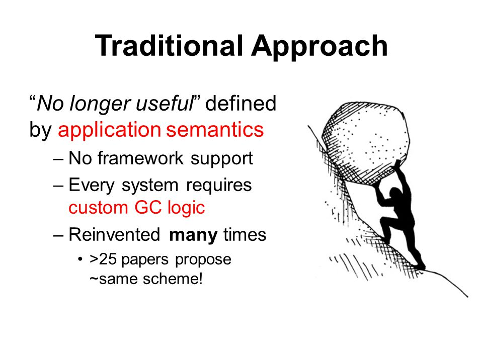 Traditional Approach No longer useful defined by application semantics –No framework support –Every system requires custom GC logic –Reinvented many times >25 papers propose ~same scheme!