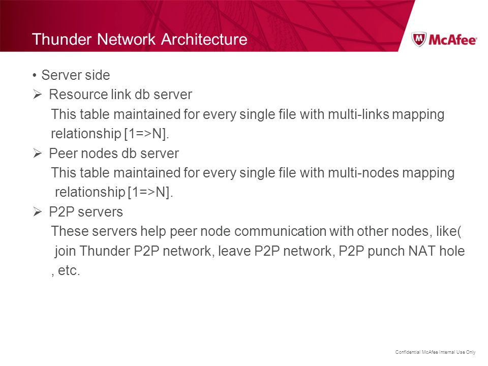 Confidential McAfee Internal Use Only Thunder Network Architecture Server side  Resource link db server This table maintained for every single file w