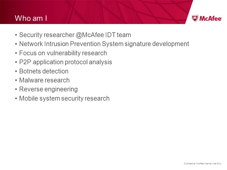 Confidential McAfee Internal Use Only Exploit DDOS attack