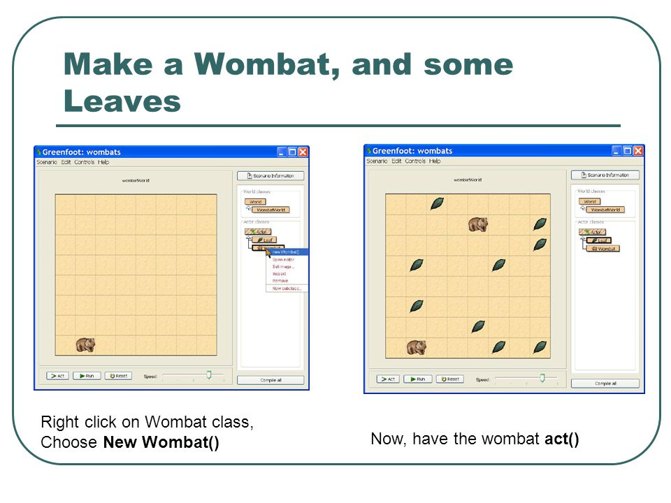 Make a Wombat, and some Leaves Right click on Wombat class, Choose New Wombat() Now, have the wombat act()