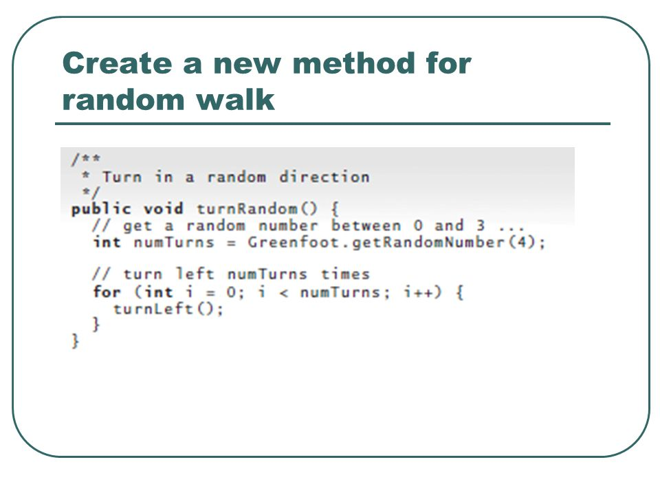 Create a new method for random walk