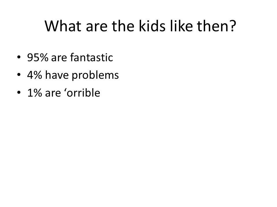 What are the kids like then 95% are fantastic 4% have problems 1% are 'orrible