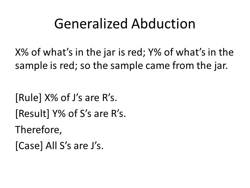 Generalized Abduction X% of what's in the jar is red; Y% of what's in the sample is red; so the sample came from the jar.