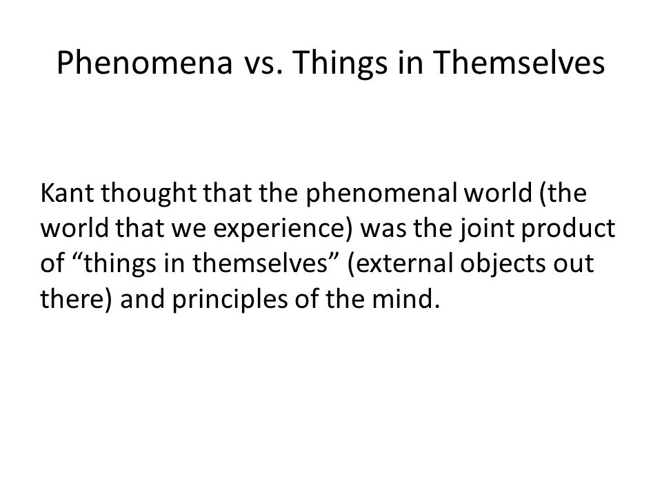 Phenomena vs.