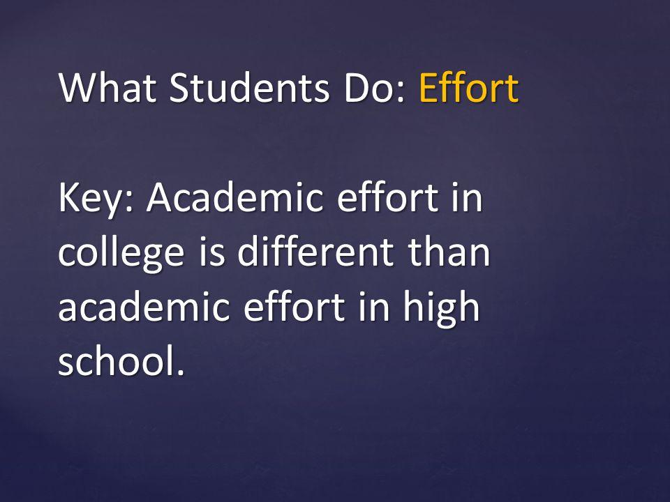 What Students Do: Effort Key: Academic effort in college is different than academic effort in high school.