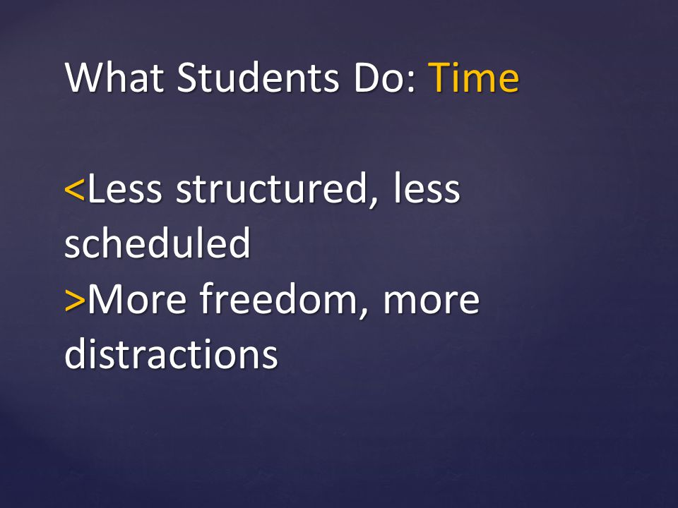 What Students Do: Time More freedom, more distractions