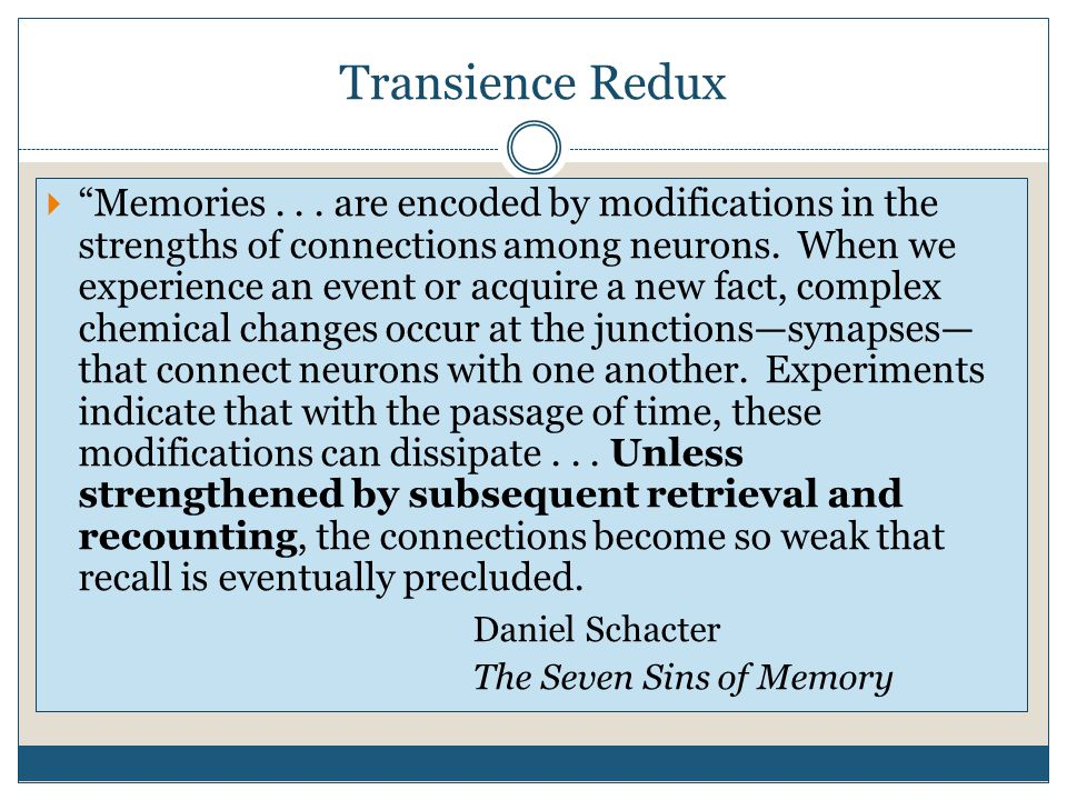 Transience Redux  Memories...