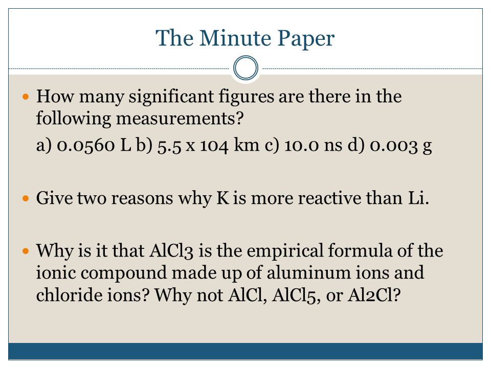 The Minute Paper How many significant figures are there in the following measurements.