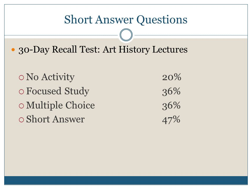 Short Answer Questions 30-Day Recall Test: Art History Lectures  No Activity20%  Focused Study36%  Multiple Choice36%  Short Answer47%