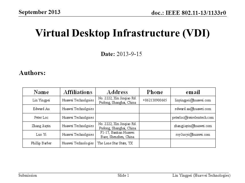 Lin Yingpei (Huawei Technologies) doc.: IEEE 802.11-13/1133r0 Submission September 2013 Slide 1 Virtual Desktop Infrastructure (VDI) Date: 2013-9-15 A