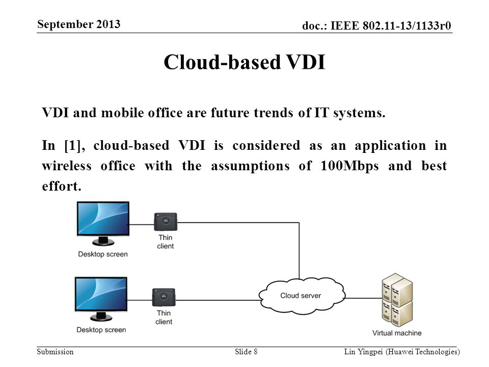 Lin Yingpei (Huawei Technologies) doc.: IEEE 802.11-13/1133r0 Submission September 2013 Slide 8 Cloud-based VDI VDI and mobile office are future trend