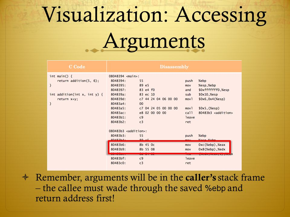 Visualization: Accessing Arguments  Remember, arguments will be in the caller's stack frame – the callee must wade through the saved %ebp and return