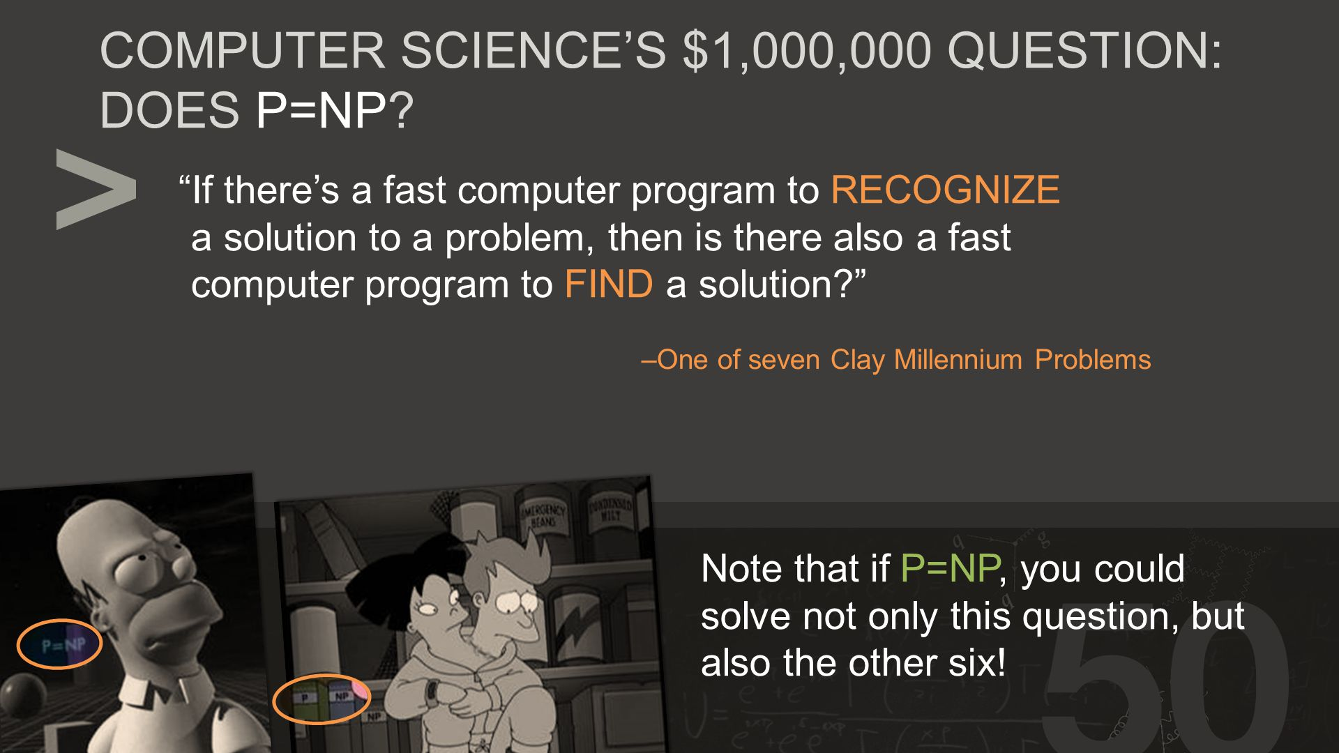 If there's a fast computer program to RECOGNIZE a solution to a problem, then is there also a fast computer program to FIND a solution –One of seven Clay Millennium Problems COMPUTER SCIENCE'S $1,000,000 QUESTION: DOES P=NP.