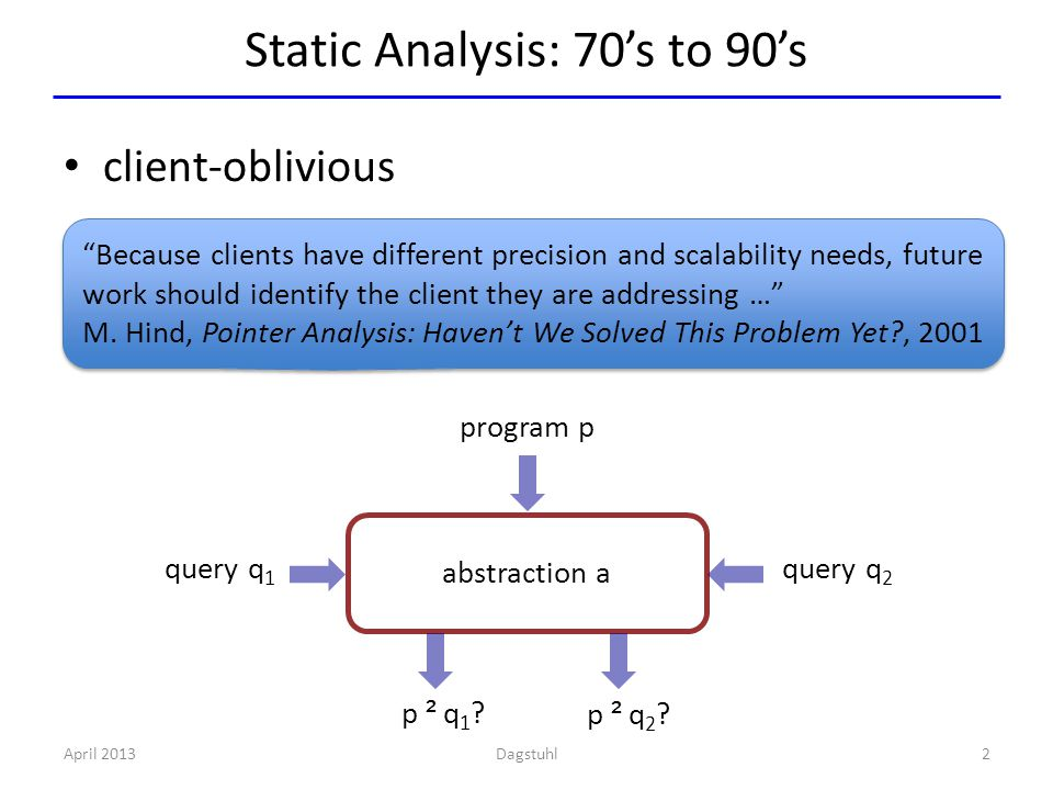 Static Analysis: 70's to 90's April 2013 2 client-oblivious Because clients have different precision and scalability needs, future work should identify the client they are addressing … M.